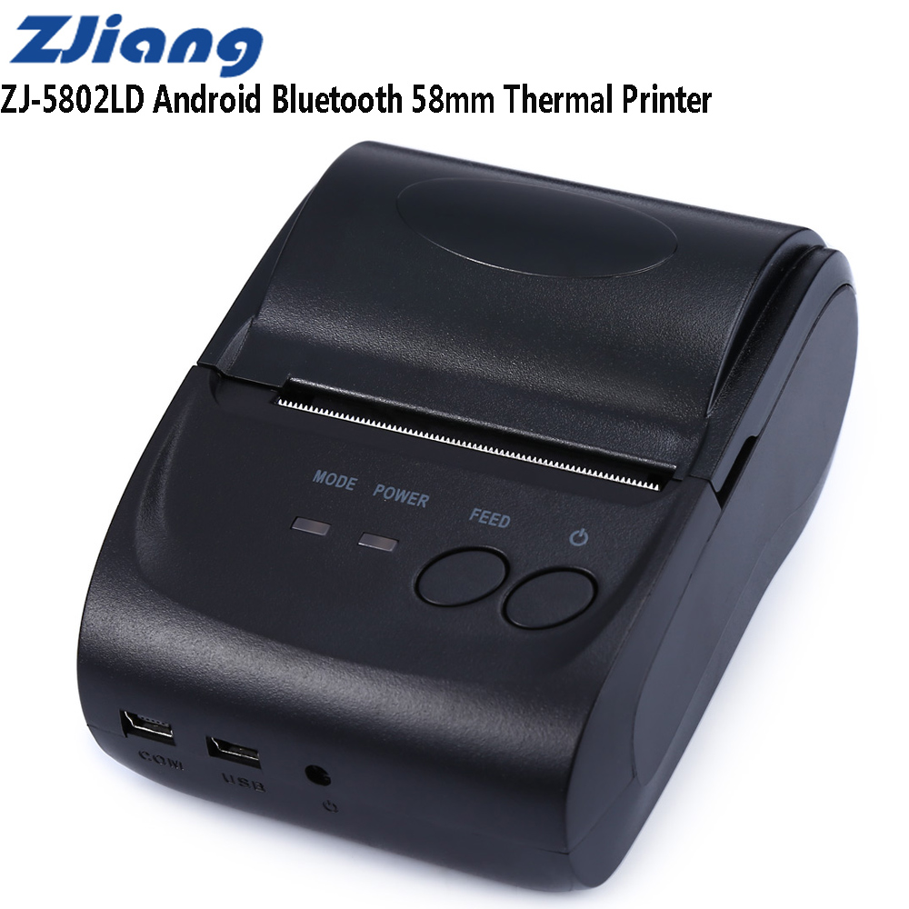 ZJiang ZJ-5802LD Mini Bluetooth 2.0 3.0 4.0 58mm Thermal Receipt Printer 1500mAh Support Logo Trademark Thermal Line Printing
