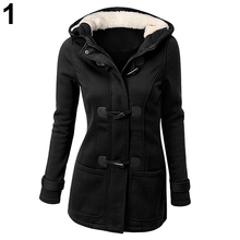 Women Fashion Winter Jacket Coat Parka Horn Buttons Casual Thick Hooded Outwear