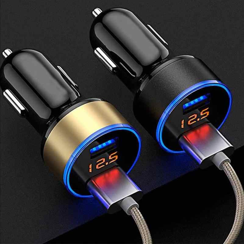 Car Charger Digital Display Dual USB Port 3.1A USB Charging Adapter Car Voltage Display Car-styling Auto Charger For Phone Cars