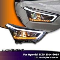 NOVSIGHT авто светодиодный проектор фары в сборе поворот Singal противотуманная фара DRL дневного света для hyundai IX25 2014 2015
