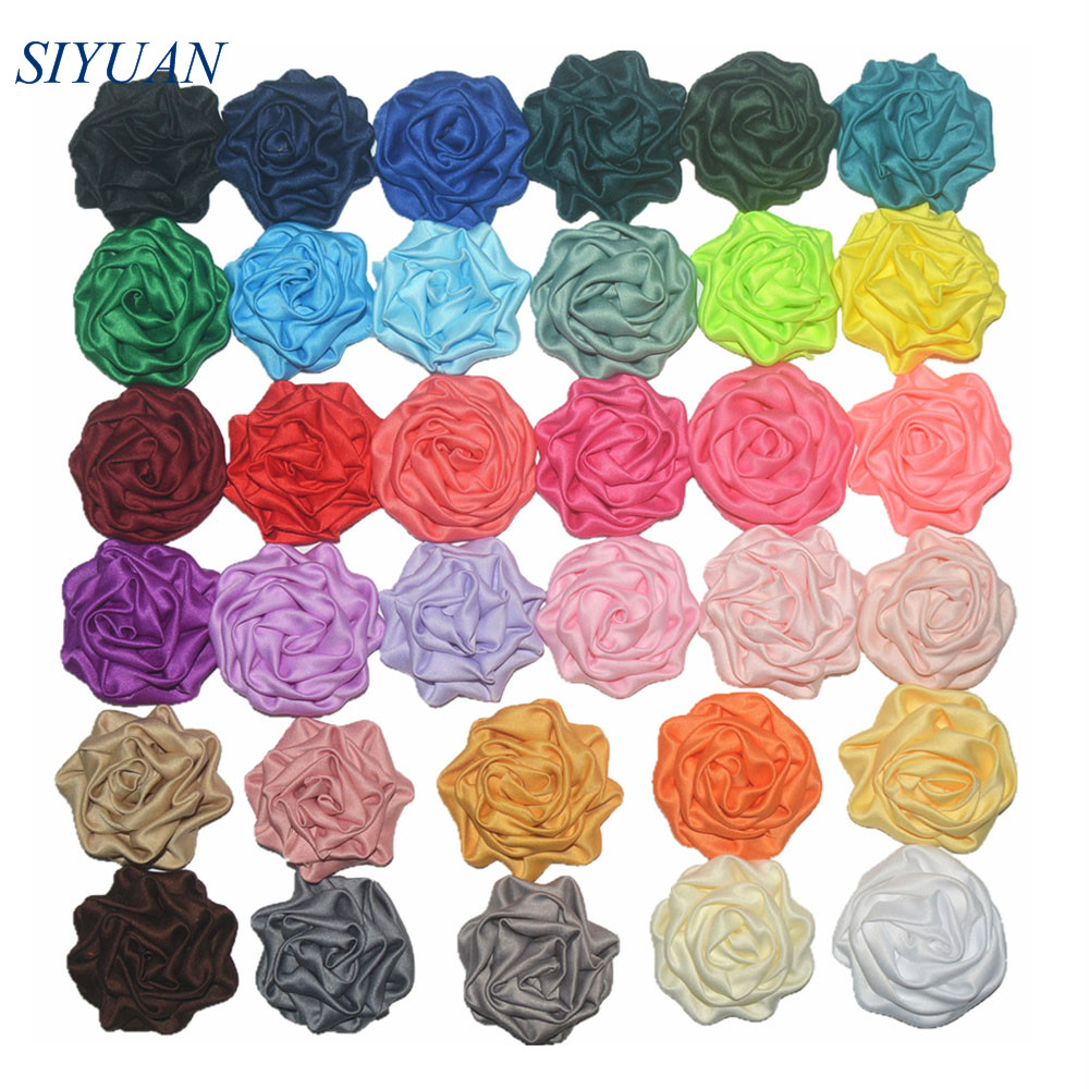 150pcs lot 1 8 Soft Satin Ruched Rolled Rosettes Flower WITH WITHOUT Hair Clips DIY Craft