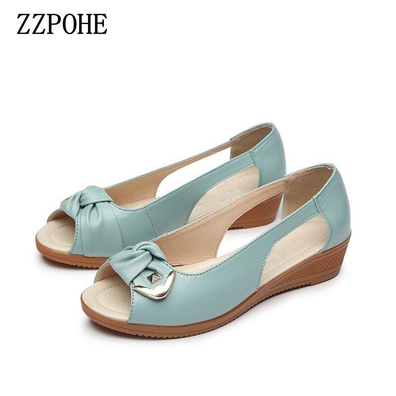 ZZPOHE D'été Dames De Mode Sandales d'âge moyen en cuir souple poissons tête sandales grande taille pente confortable Femme chaussures 35-43