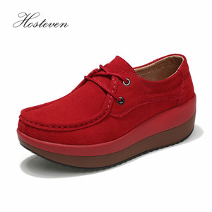 Image 1 - Hosteven Womens Shoes Flat Platform Female Shoe Woman Shoes Cow Suede Leather Spring Autumn Womens Loafers Moccasins