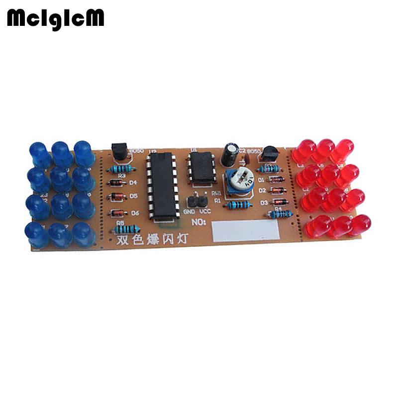 50pcs/lot Red Blue Double Color Flashing Lights DIY Kit Strobe NE555 + CD4017 Electronic