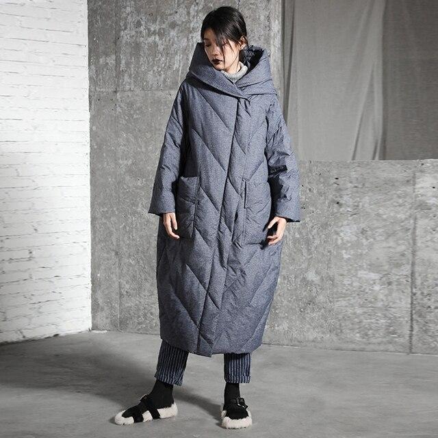 Оригинальный дизайн Новое поступление 2017 Женская одежда повседневное теплое зимнее пальто oversize толстые с капюшоном Длинная белая куртка на утином пуху