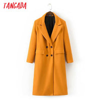 Tangada Fashion 2017 Winter Elegant Double Breasted Pocket Orange Woolen Coat For Women Long Coats  Thick Warm Lady Outwear XD07