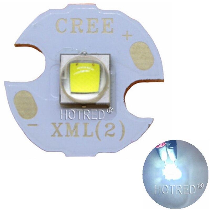 Cree XLamp XM-L2 XML2 T6 10W Cool White 6500K High Power LED Light Emitter Diode For Flashlight On 16mm  Black Or White PCB