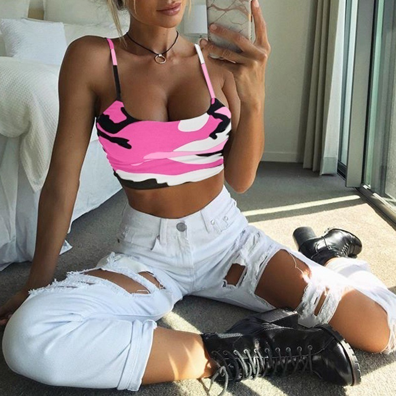 Women Tube Tops Strappy Sleeveless Camouflage Print Slim Fit Crop Tops for Summer GDD99 in Camis from Women 39 s Clothing