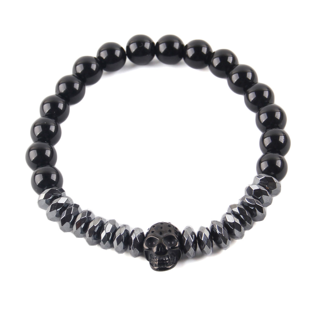 mens fashion Natural stone beads Bracelet CZ Crown Titanium Steel Warrior Skull Skeleton men bracelets bangles for Men Jewelry in Charm Bracelets from Jewelry Accessories