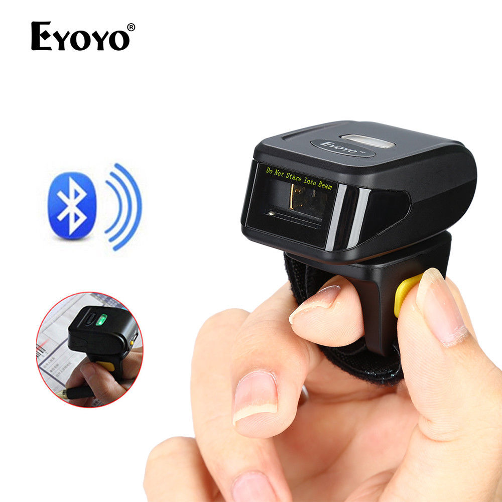Portable 1D Bar Code Scanner Bluetooth Wireless Mini Ring Finger Barcode Reader 1D Barcode Scanner For Android IOS Windows