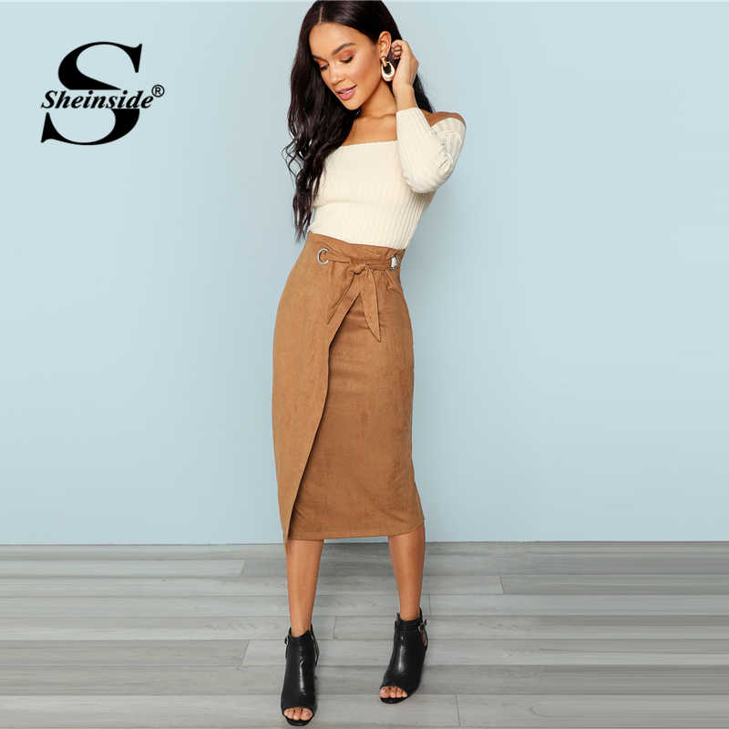 f193779f9a ... Sheinside Brown Tie Waist Bodycon Work Skirt Zip Back Mid-Calf Wrap  Knot Split Back ...