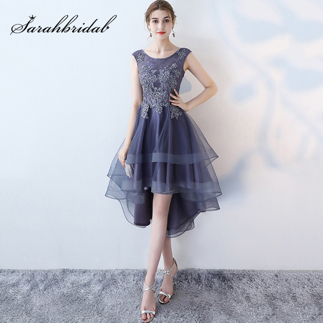 New Arrival High/Low Cocktail Dresses with Top Beading Lace Appliques Tulle Knee-Length Skirt Short Party Gowns L3454