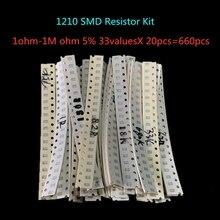 1210 SMD резистор набор Ассорти Комплект 1ohm-1M Ом 5% 33valuesX 20 шт = 660 шт набор образцов