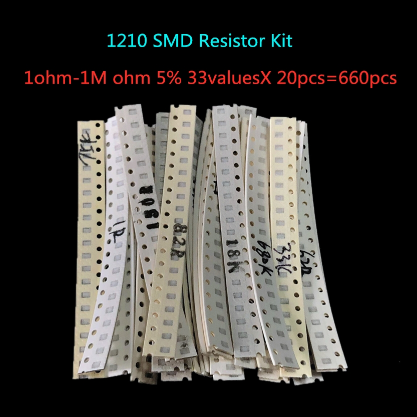 <font><b>1210</b></font> <font><b>SMD</b></font> <font><b>Resistor</b></font> Kit Assorted Kit 1ohm-1M ohm 5% 33valuesX 20pcs=660pcs Sample Kit image