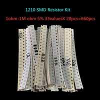 1210 SMD resistencia Kit surtido 1ohm-1M ohm 5% 33 valoresx 20 piezas = 660 Uds Kit de Muestra