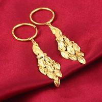 Solid 24K Yellow Gold Earrings Women Peacock Dangle Earrings 10.48g