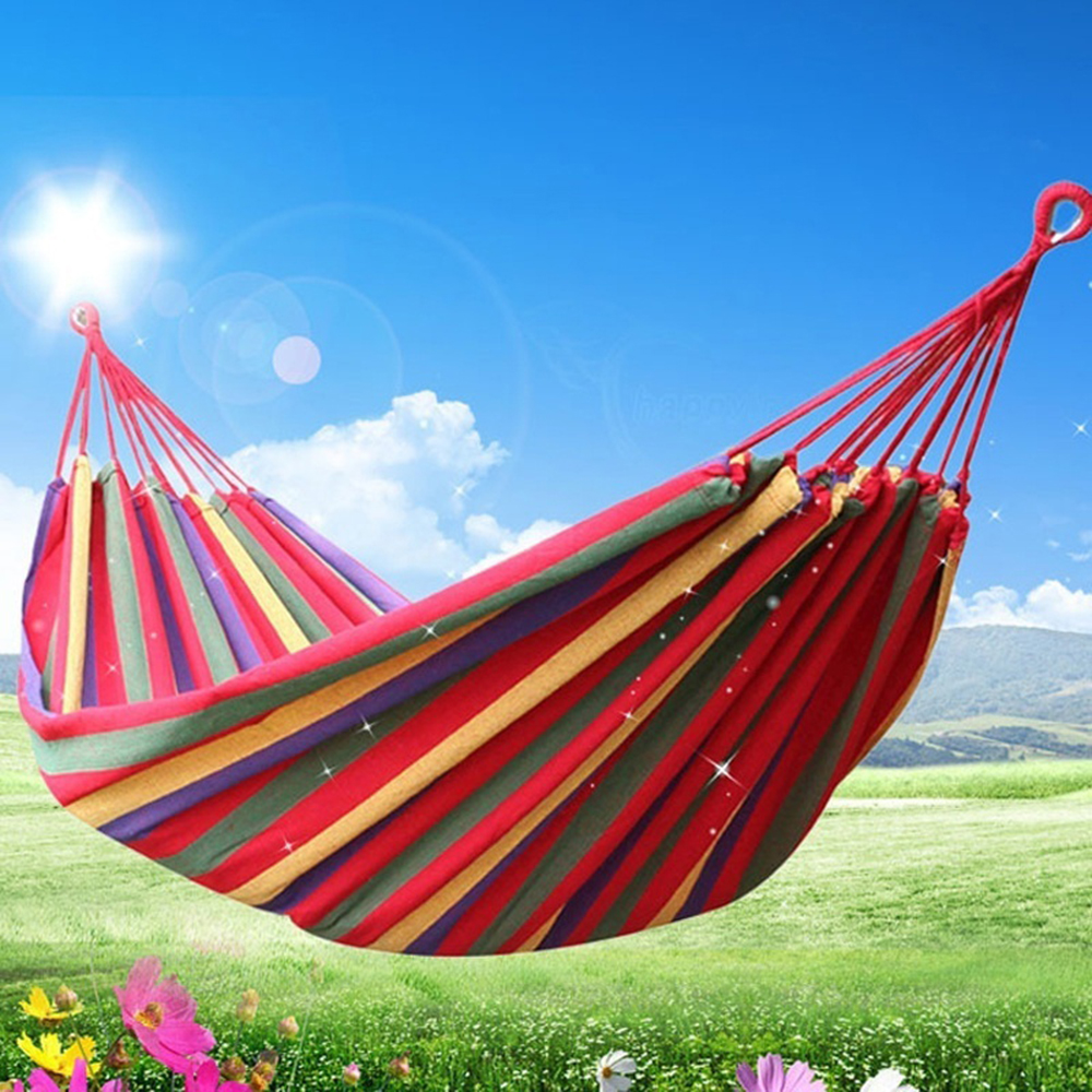 Image 4 - Portable Hammock Outdoor Hammock Garden Sports Home Travel Camping Swing Canvas Stripe Hang Bed Hammock Red Blue 280 x 80cm Tent-in Tents from Sports & Entertainment