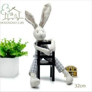 Роскошная тканевая Кукла для мальчиков ручной работы, подарок на день рождения, Детская кукла из хлопка и льна, кролик, мягкие игрушки с живо...