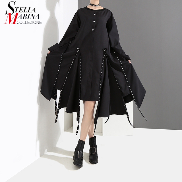 56f16f2677a5d New 2018 Women Solid Black Asymmetrical Dress Long Sleeve With Tapes    Metal Holes Female Stylish