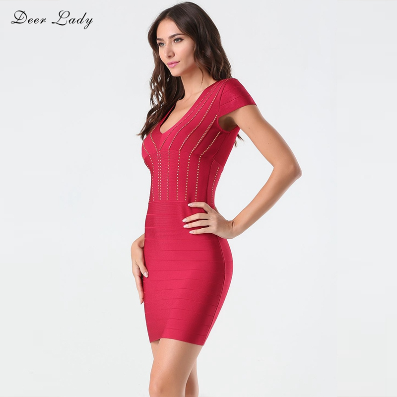 Deer Lady Summer Party Dress Women 2018 Sexy Red Bandage Dress Rayon O Neck Short Sleeve Bodycon Dress Nightclub berrygo v neck striped v neck sexy dress women drawstring ruffle red bodycon dress summer knitted nightclub short dress female