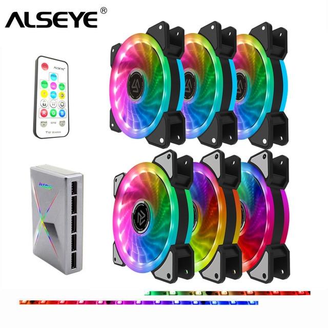 ALSEYE RGB 팬 120mm 5pin Dual Aura PC 팬 Remote Controller Computer Cooling 팬 조절 RGB 및 팬 Speed