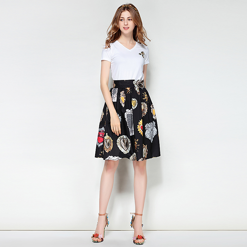 Milan Runway New High Quality 2018 Spring Summer Women'S Clothing Fashion Pair Boho Beach Vintage Elegant Chic Print Half Skirt