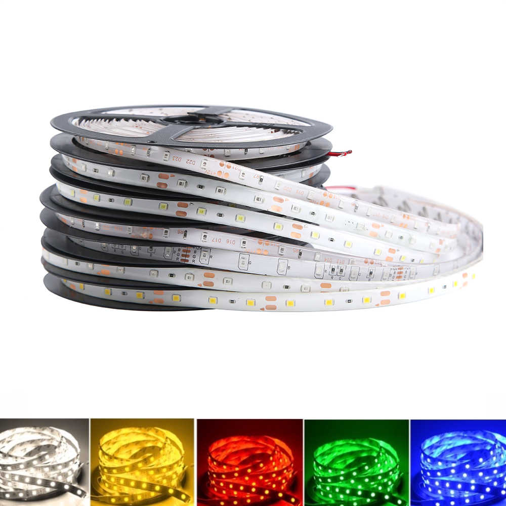 12 V Lampu LED Strip SMD 2835 RGB Tahan Air 5 M 60LED/M RGB 12 V Lampu LED Strip 12 V Volt Tape Lampu Diode Pita TV Backlight