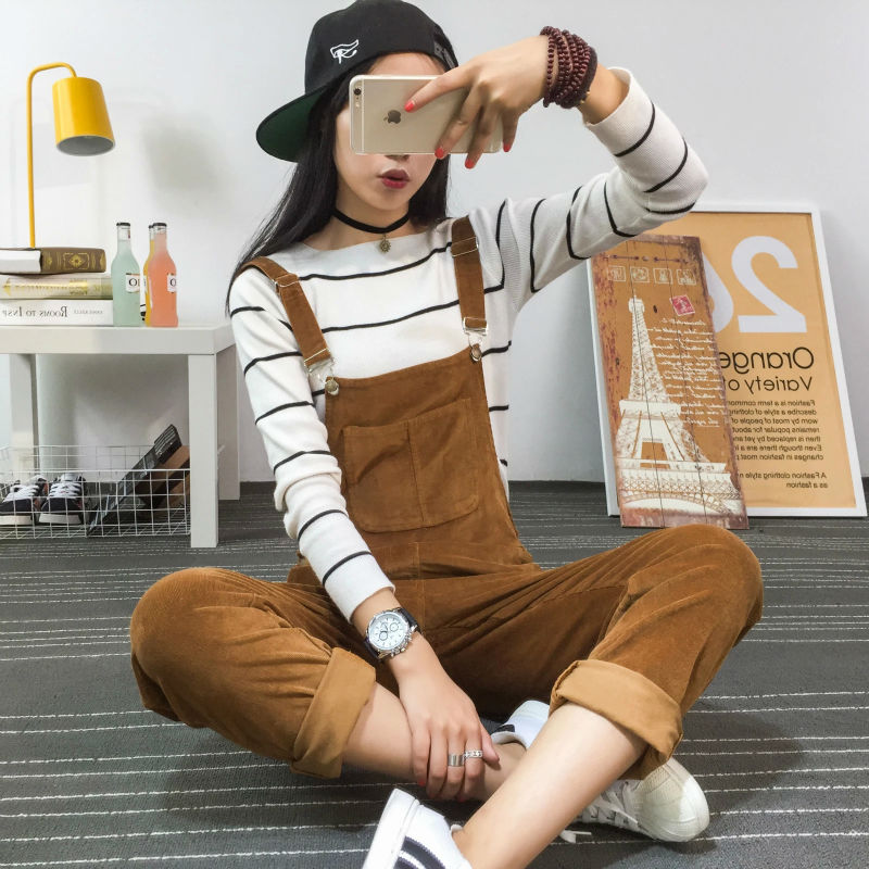 2017 Spring Fashion Regular Corduroy Womens Rompers Pockets Full Length Overalls For Women Bodysuit Rompers Womens Jumpsuit