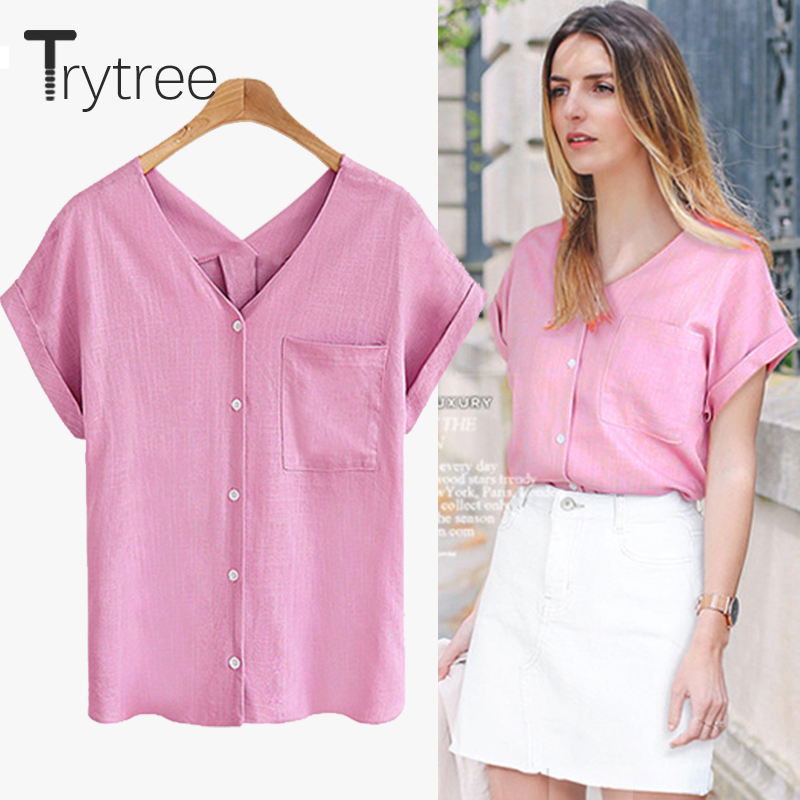 Trytree 2018 Summer Women Polyester Blouse Casual sexy shirt V-Nneck Black off White Tops clothes Casual Plus Size cotton Shirts