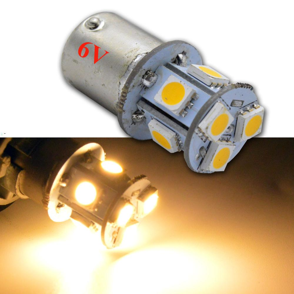 Pair <font><b>Amber</b></font> 6V Car <font><b>Led</b></font> 1156 1156P 8SMD Backup LightS <font><b>P21W</b></font> Auto BA15S <font><b>P21W</b></font> 5050 Light Socket Turning Signal Parking DRL <font><b>led</b></font> light image