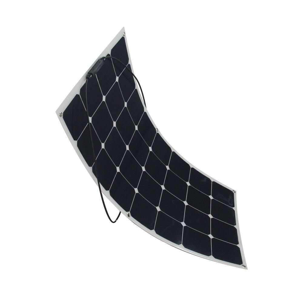 2Pcs flexible Sunpower Semi Flexible 18V 100W Solar Panel Charger For 12V Solar Battery