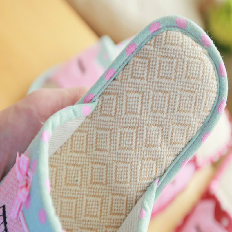 2019 new Summer linen slippers ladies living home anti-skid cotton thick cute cartoon indoor summer floor cooler slippers 4