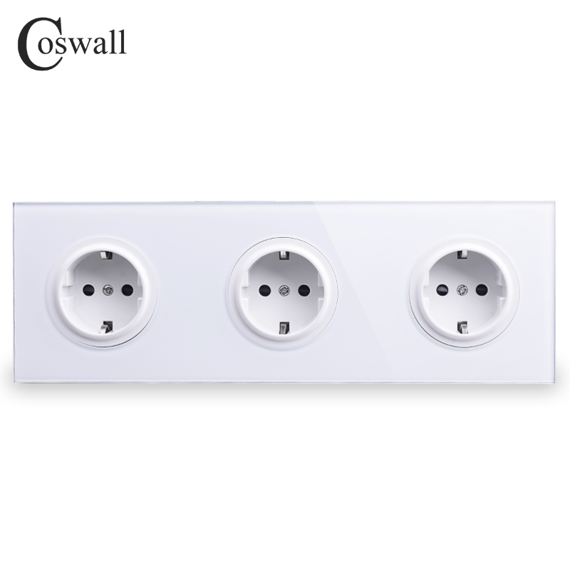 Coswall Crystal Tempered Pure Glass Panel 16A Triple EU Standard Wall Power Socket Outlet Grounded With Child Protective LockCoswall Crystal Tempered Pure Glass Panel 16A Triple EU Standard Wall Power Socket Outlet Grounded With Child Protective Lock