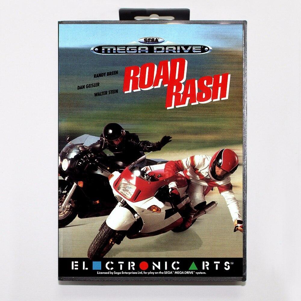 Road Rash Game Cartridge 16 bit MD Game Card With Retail Box For Sega Mega Drive For Genesis