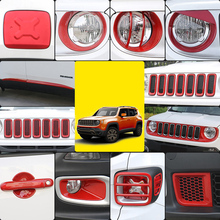 Lsrtw2017 Abs Car Front Grill Inlet Trims Fog Light Side Door Handle for Jeep Renegade