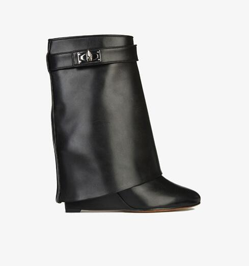 Sexy Women Wedge Ankle Boots Shark Lock Height Increasing Fold Over Ankle Booties Black Leather Winter Short Boot Big Size 10