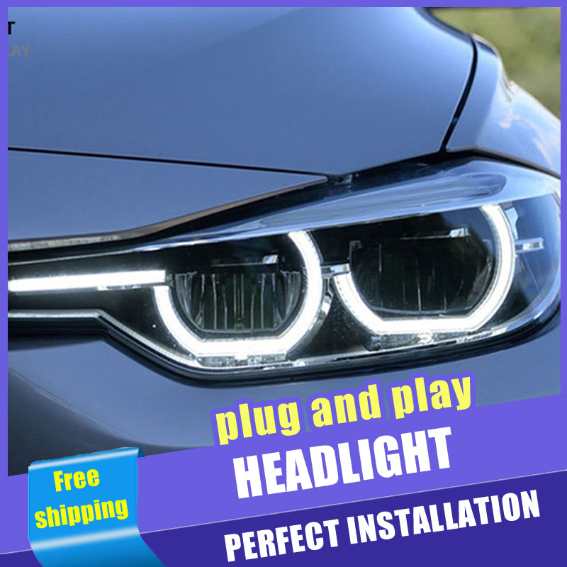 2 pièces voiture Style LED phares pour BMW 3 série F30 12-16 pour F30 lampe frontale LED DRL lentille Double faisceau H7 HID xénon bi xénon lentille