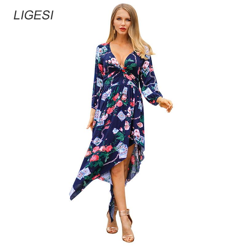 Women's Clothing Vintage Floral Print Summer Dress Three Quarter Sleeve Irregular Sexy Long Dress Bohemian Women Dress Holiday Beach Dress Customers First