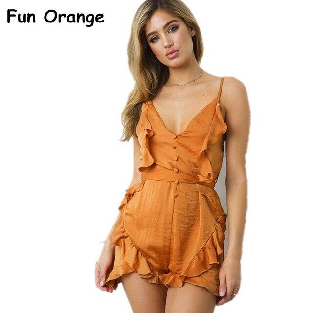 a53f0caa69ff Fun Orange V Neck Ruffle Bow High Waist Satin Women Jumpsuit Romper Sexy  Sleeveless Loose Jumpsuit
