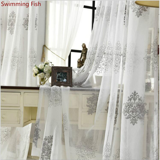 white grey embroidered gauze sheer kitchen voile organza curtains doors for bedroom study
