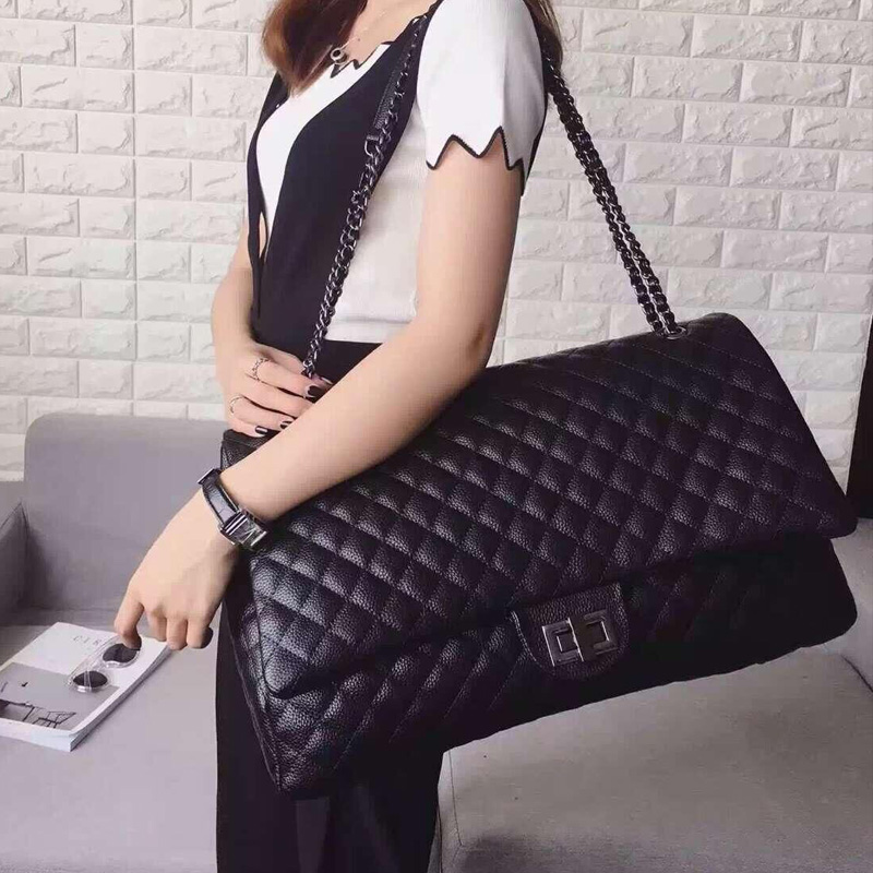 a34be9b992 jumbo bag big messenger bag luxury brand leather maxi large flap bags women  black grey silver high quality chains shoulder bag -in Crossbody Bags from  ...
