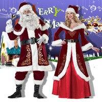 Santa claus cosplay costume men luxury Adult sexy women cosplay Santa Claus costume red Christmas mini dress and hat fancy dress