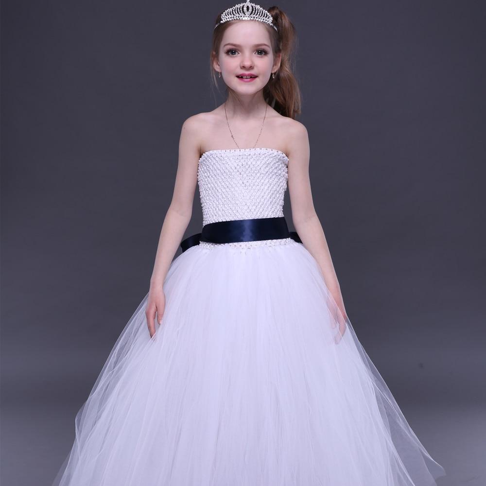 Weißes Erstkommunion-Mädchen-Ballettröckchen-Kleid mit - Kinderkleidung - Foto 1