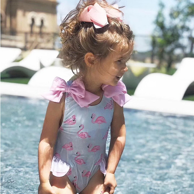 Image 4 - Retail Baby Girls Beautiful Swimming Wear Suits Lovely Flamingo Ice cream Bear Giraffe Swimsuits Child Fashion Swimwear E10002Clothing Sets   -