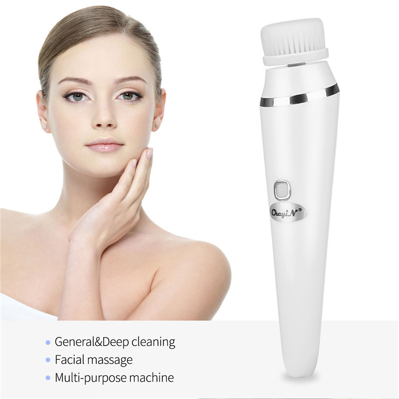3 In 1 Multifunction Electric Face Facial Cleansing Brush Spa Mini Skin Care Massage Brush USB Rechargeable Face Washing Machine