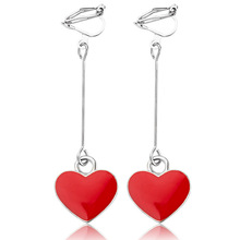 Fashion Simple Lovely Red Heart Ear Clip Earrings for Women Personality Girl Jewelry Accessory Gifts