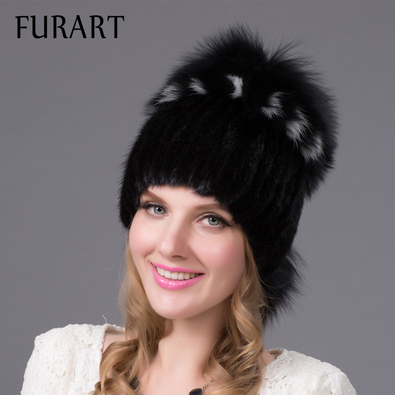 9323ff08db06eb Winter Fur Hats Women 2 Colors Mink Fox Caps Fox Fur Soft Warm Women Winter  Cap Natural Mink and Fox Fur Handmade hat DHY 25-in Skullies & Beanies from  ...