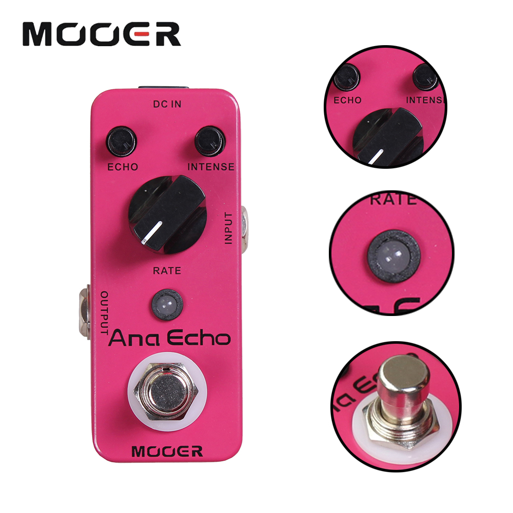 Mooer Full Analog Circuit, Warm, Clear, Smooth Analog Delay Sound Mini Ana Echo Delay Electric Guitar Effect Pedal free shipping new guitar effect pedal mooer ana echo analog delay pedal pedal true bypass