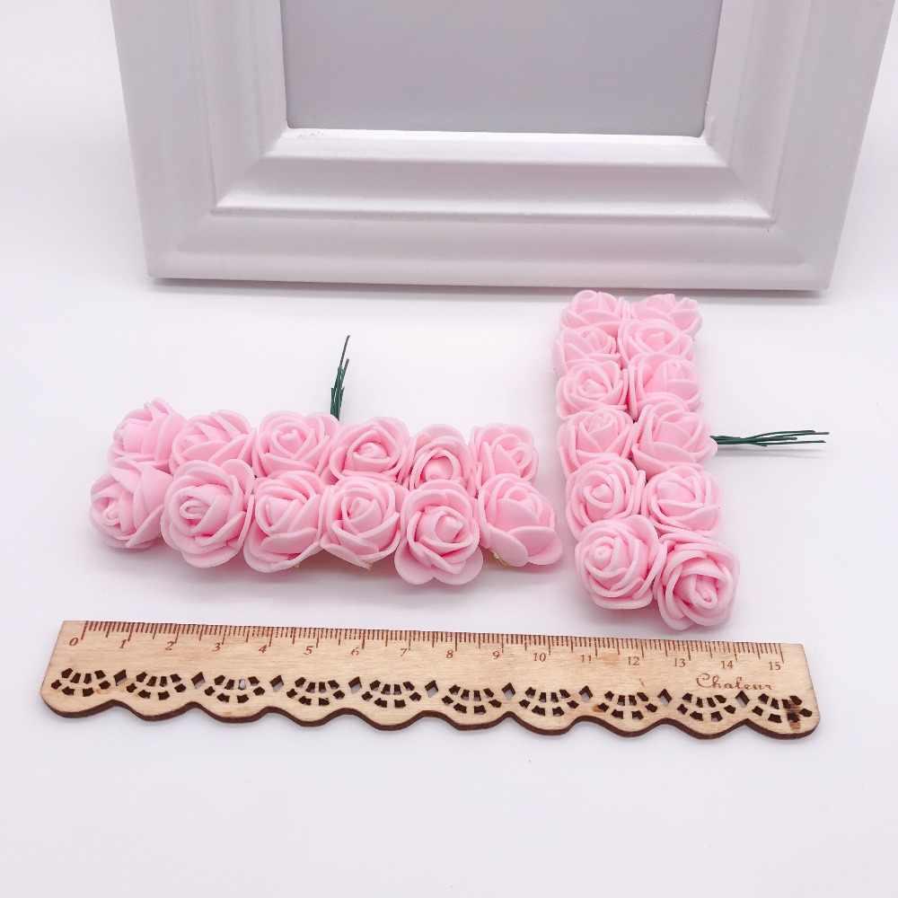 144pcs 2cm Mini Foam Rose Kunstmatige Bloem Boeket Multicolor Rose bruiloft decoratie Bloem Scrapbooking Fake Rose Bloem