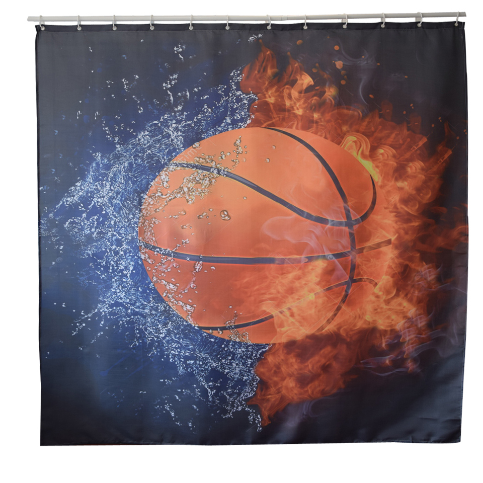 Papa&Mima basketball printed Waterproof Shower Curtains Polyester Bathroom Curtains With Hooks 180x180cm Decorative Bathtub